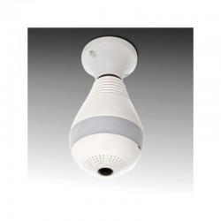 Cámara Wifi 1,3Mp 360º Ojo de Pez. Bombilla LED E27. Detector Sonido/Movimiento. Audio Bidireccional. Visión Nocturna