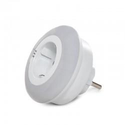 Luz Nocturna LED RGB 1X Toma Corriente - Sensor Crepuscular - IP20 Blanco