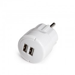Adaptador + 2 X Usb Cargador - IP20 - Blanco