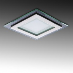 Foco Downlight  LED Cuadrado con Cristal 95X95Mm 6W 450Lm 30.000H