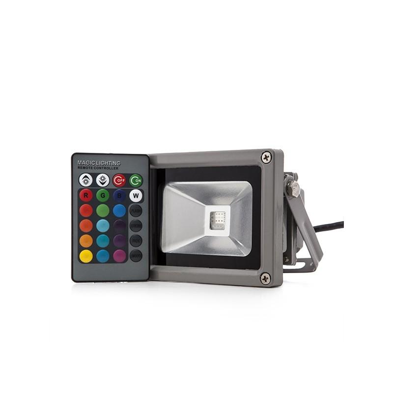 Foco Proyector LED IP65 10W RGB Mando a Distancia