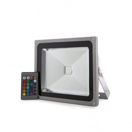 Foco Proyector LED IP65 30W RGB Mando a Distancia