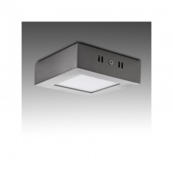 Plafón LED Cuadrado 120Mm 6W 430Lm 50.000H Niquel Satinado