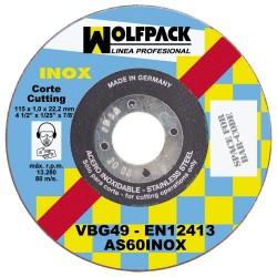 Disco Corte Abrasivo Inoxidable 115x1,6x22,2 mm.