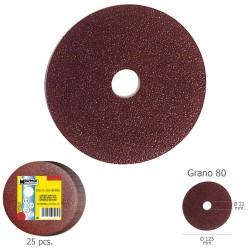 Disco Lija Hierro 125x22 mm. Grano  80 (Paquete de 25...
