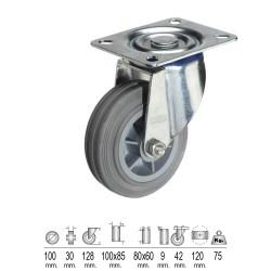 Rueda Industrial Goma Gris Placa 100 mm.