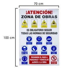 Cartel Combinado Normas Obra  100x70 cm.