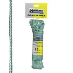 Cuerda Trenzada Polipropileno Blanca / Verde (Madeja 15 m.)