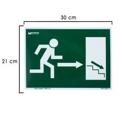 Cartel Salida Escalera Derecha Abajo 21x30 cm.