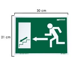 Cartel Salida Escalera Izquierda Abajo 21x30 cm.