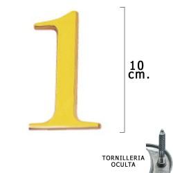 """Numero Latón """"1"""" 10 cm. con Tornilleria Oculta (Blister 1..."""