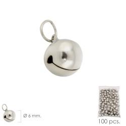 Cascabel Niquelado   6 mm.  (Bolsa 100 Unidades)