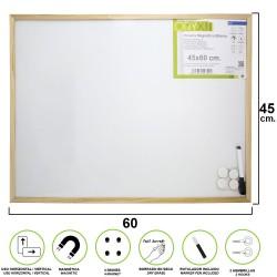 Pizarra Magnetica Blanca 45x60 cm. Con Rotulador y 4 Imánes
