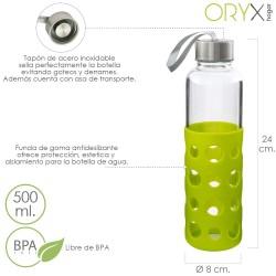 Botella Agua de Cristal Con Funda Goma y Tapon Antigotas...