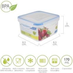 Recipiente Hermetico Plastico Cuadrado 170 ml.  8.5x8.5x5...