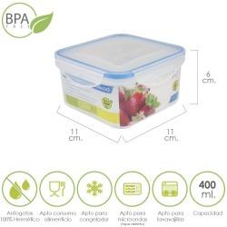 Recipiente Hermetico Plastico Cuadrado 400 ml.  11x11x6...