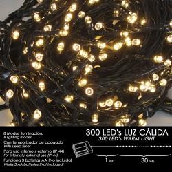 Luces Navidad A Pilas 300 Leds Luz Calida Interior /...