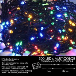 Luces Navidad A Pilas 300 Leds Multicolor Interior /...