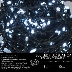 Luces Navidad A Pilas 300 Leds Luz Blanca Interior /...