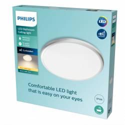 "Plafón LED Philips \""Spray\"" Circular 17W 1500Lm Plata 2700K IP44 [PH-929002514701]"